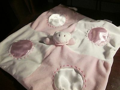 Bosewell pink & white stitched satin teddy  security blanket VHTF