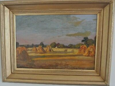 Oil On Canvas Painting of 'Hayricks' Signed Donald H Floyd and Dated 1921
