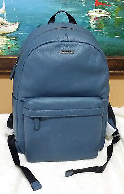5531fb4deafd ... official michael kors mens leather backpack bookbag travel school  laptop bag blue nwt 6a3ae 083e4