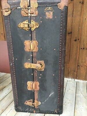 Antique WHEARY TRUNK CO. Cushion top Steamer Wardrobe Trunk
