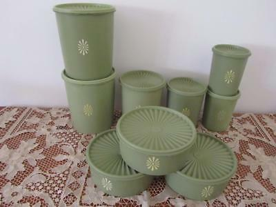 Bulk Lot 9 Vintage TUPPERWARE Olive Green CANISTERS Pantry Storage Containers