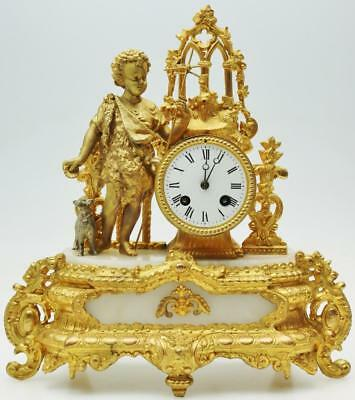 Antique French Japy Freres 8 Day Alabaster & Gilt Figural Bell Mantel Clock