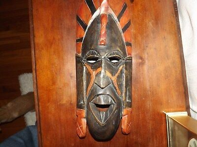 Tribal Mask Hand Carved Wood made in Kenya Africa Wall Hanging Vintage and Rare