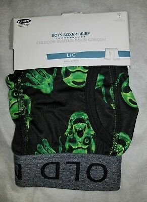 Old Navy 1 Pair Boys Large (ages 9-11) Boxer Briefs Black Green Skulls Hands