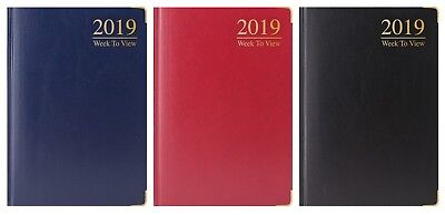 2018 A5 Week to View Diary gilt edge metal corner padded executive look Cover