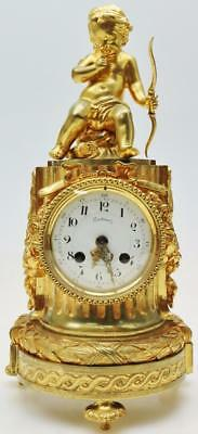 Antique French Japy Freres 8 Day Figural GIlt Bronze Mantel Clock