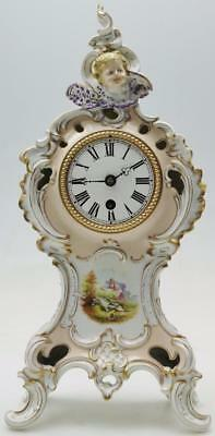 Antique 19th c French Porcelain Roccoco Shaped Mantel Clock