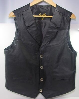 Scully Mens Leather Western Vest Men's Medium w/ Coin Shape Front Buttons- BLACK