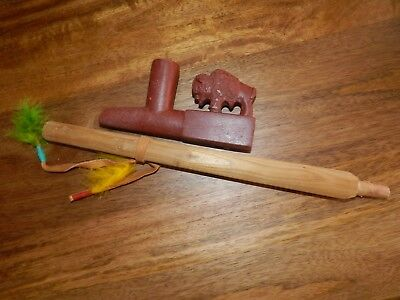 "Vtg Carved Red Catlinite Stone Peace Pipe Buffalo 5 1/2""  Wagner"