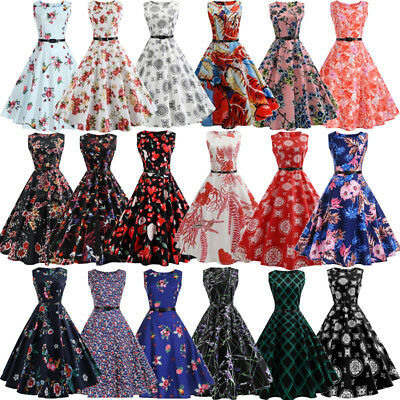 Vintage Retro 1950s 60s Housewife Floral Flared Evening Party Swing Pinup Dress