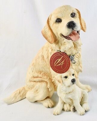 Large Golden Retriever & Puppy 8 1/4 Inches Country Artists 2000 Dog Lover Gift
