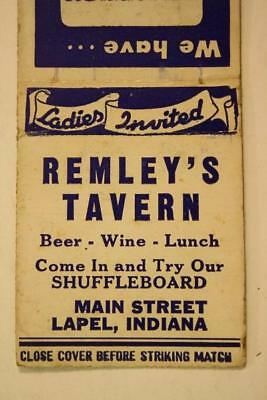 1940-50s Era Lapel,Indiana Remley's Tavern Shuffleboard matchbook-Beer for Lunch