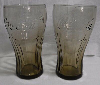 Set of  2 Smoke  McDonald's Vintage 16oz Coca Cola Glasses Excellent Condition