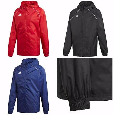 b44e7112d5e2 Adidas Mens Core Rain Jacket Waterproof Sports Football Hooded Windproof  Coat