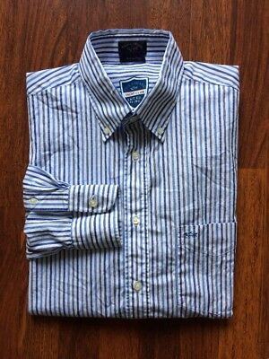 Men's PAUL & SHARK YACHTING L/S Blue Stripe Dress Shirt 42 Large L Made in Italy