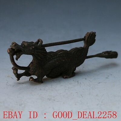 Rare collectibles Chinese old style Brass Carved Dragon lock with key