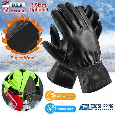 Unisex Leather Touch Screen Gloves Soft Winter Outdoor Driving Warm Fur Gloves