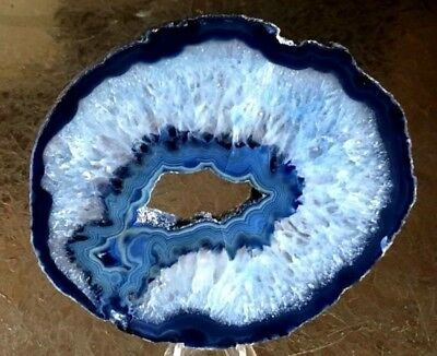"""Brazilian Agate Geode Slab/Slice- Large Blue Color  4 7/8 """"  x  4 1/4 """"w/Stand"""