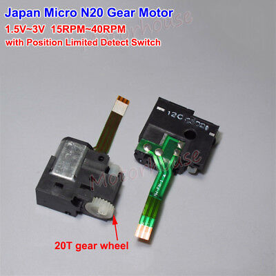 DC 1.5V 3V 40RPM Mini N20 Gear Motor  Control Slow Speed Position Detect Switch