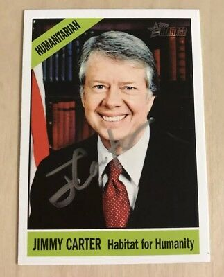 President Jimmy Carter Signed Autograph Trading Card Topps Heritage 2009