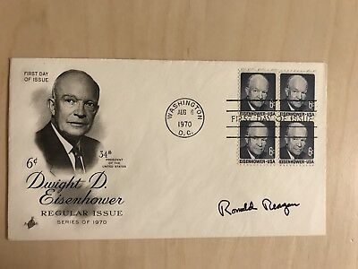 President Ronald Reagan Signed Eisenhower First Day Cover 1970