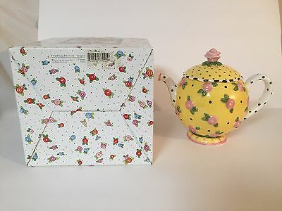"Mary Engelbreit Yellow Teapot ""Fried Egg Flowers"" in Original Box-Retired"