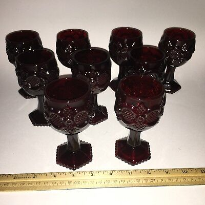 "Lot 9 Avon Ruby Red Cape Cod Cordial Small 4 1/2"" Tall Wine Glasses Goblets"