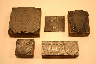 5 Vintage Typeset Blocks Eagle, Join the Marines, Veterans Foreign Wars, Police