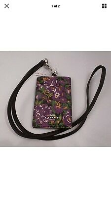 NWT COACH ROSE MEADOW Lanyard ID Badge Holder VIOLET MULTI 57990 gift wrap avail