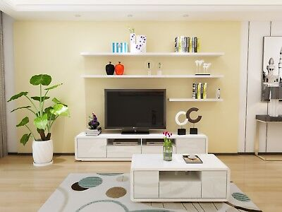 2.2 M New Modern TV Stand Entertainment Unit High Gloss White Cabinet Drawer