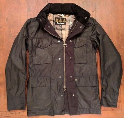NEW BARBOUR Men's Tailored Sapper Waxed Cotton Jacket, Black, Size S, $429