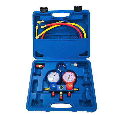 AC Refrigeration Air Conditioning AC Diagnostic Manifold Gauge Tool Set Hose