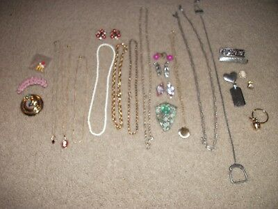 Mixed lot of Vintage and some New Costume Jewelry chains necklaces pendants etc.