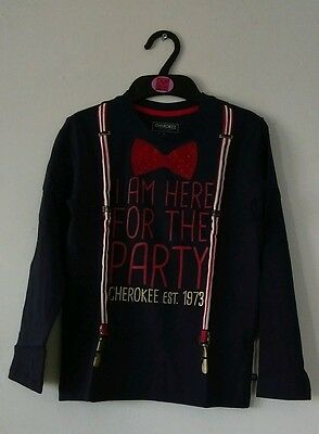 New Cherokee boys Shirt with bow design and I AM HERE FOR THE PARTY. SIZE 7-8