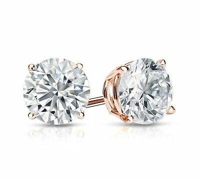 1 Ct Diamond Stud Earrings 5MM Round Diamond Solitaire Earrings 14k Rose Gold