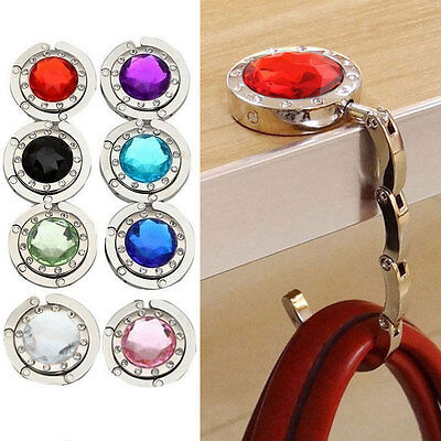 Portable Foldable Folding Crystal Alloy Purse Handbag Hook Holder Hanger Bag