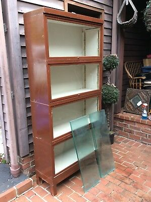 """Vintage Metal /Glass 4 Section Bookcase Cabinet -35"""" Wide X 75"""" Tall -Very Good"""
