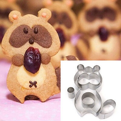 Stainless Steel Cake Bread Biscuit Sandwich Bear Raccoon Cookie Cutter Mould