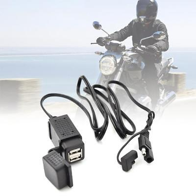 12V-24V 3.1A SAE 2 USB Cable Adapter Cellphone Tablet GPS Charger for Motorcycle