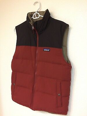 Mens Extra Large Patagonia Reversible Bivy Duck Down Vest Cinder Red Small