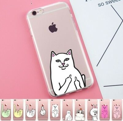 Pocket Cat Middle Finger Silicone Case Cover iPhone X 8 7 6 Plus 5 4 5C Samsung