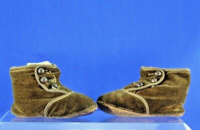 Antique Child Brown Velveteen High Button Shoes With Leather Soles
