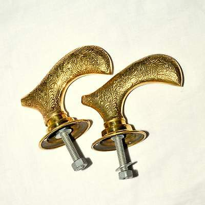 Vintage pair of brass door knobs brass handles complete with bar & plates *