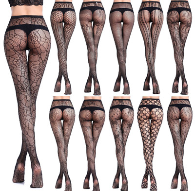 Women Sexy Black Lace Fishnet Jacquard Stocking Pantyhose Waist Tights Plus Size