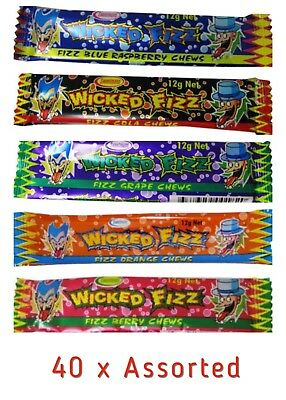 40 x ASSORTED WICKED FIZZ CHEWS CANDY SWEETS LOLLIES BUFFET PINATA PARTY