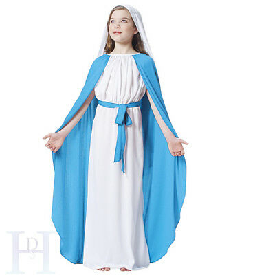 Virgin Mary Religious Girls Christmas Fancy Dress Costume Kids Nativity Outfit