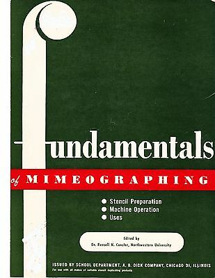 BOOKLET of FUNDAMENTALS OF MIMEOGRAPHING  1957  Green Cover