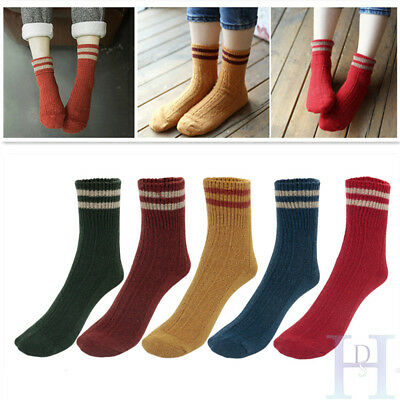 5 pairs Christmas Womens Cashmere Wool Thick Warm Socks Winter Striped Design