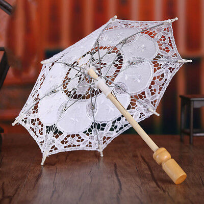 White Lace Embroidered Parasol Umbrella Bridal Wedding Party Decor Accessories