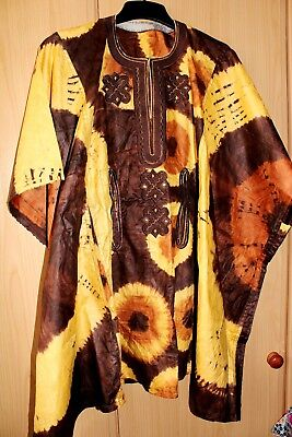 Classic West African fully embroidered Danshiki top & tye dye Unisex~Brown Mix